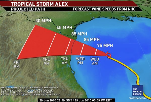 Hurricane Alex, June 29, 2010 Prediction