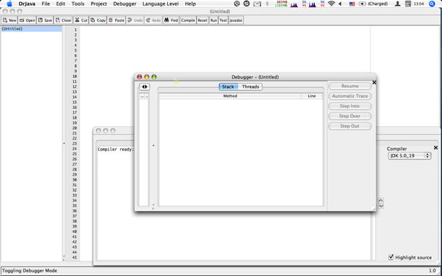 DrJava on Mac, menu bar with debugger
