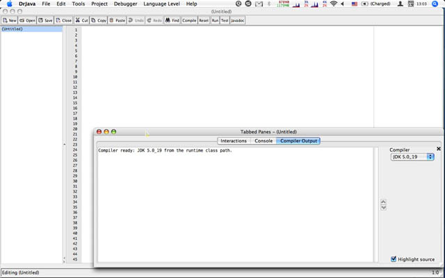 DrJava on Mac, menu bar with tabbed panes