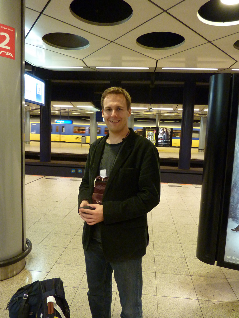 At the Amsterdam-Schiphol airport train station