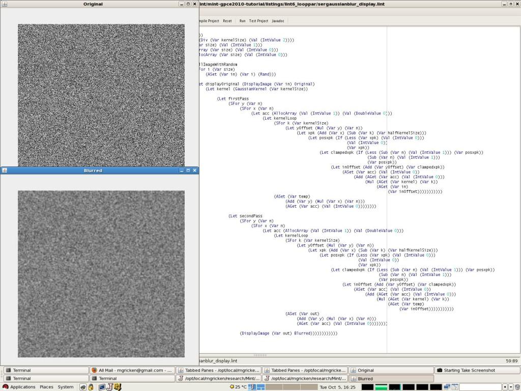 Gaussian Blur in DSL Screenshot