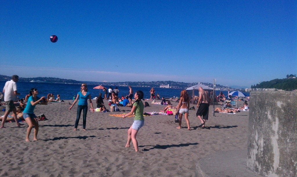 Alki Beach in July 2011. Same amount of Space Needle, many more women in bikinis.