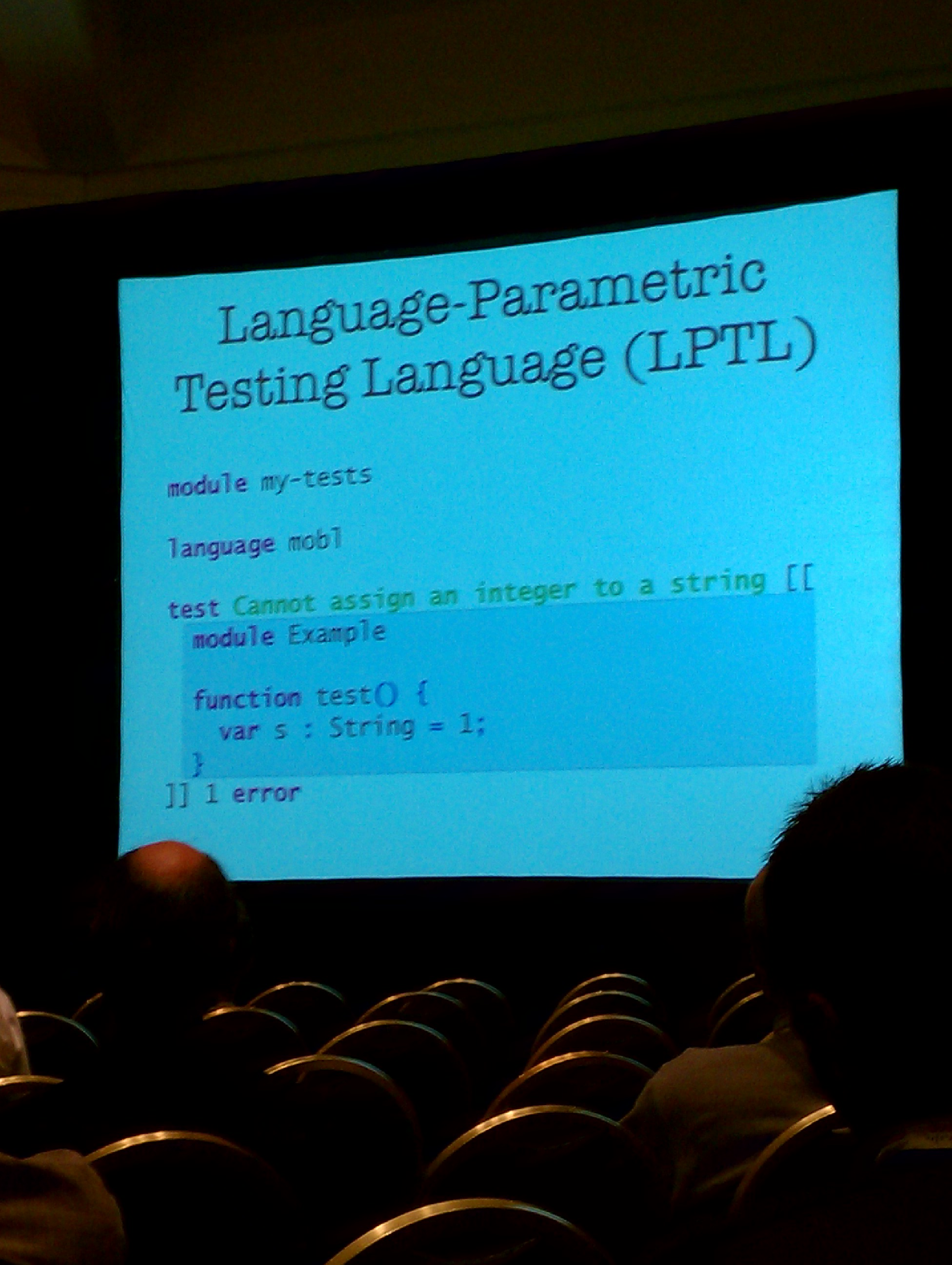 Integrated Language Definition Testing, example slide.