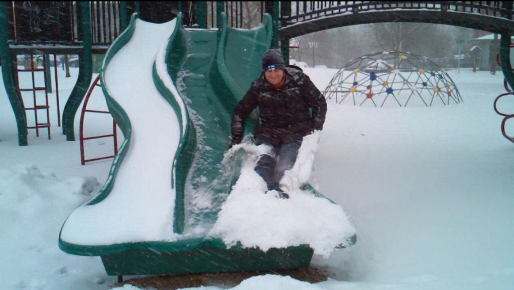 Sliding in the snow, January 18, 2012