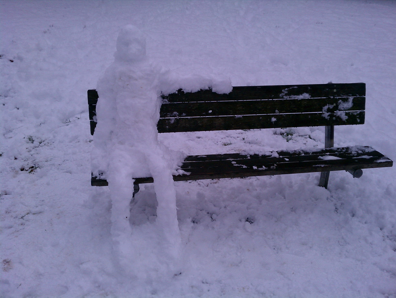 Seattle snow, 2012-01-15, snowman on a bench.