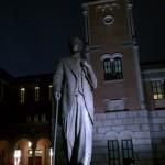 New statue of Lovett, Rice's first president.