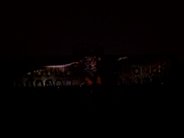 Centennial Spectacle: Owl projected onto Lovett Hall.