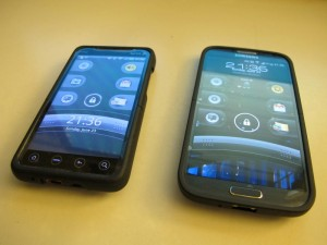 Old phone (left): HTC EVO 4G. New phone (right): Samsung Galaxy S4.