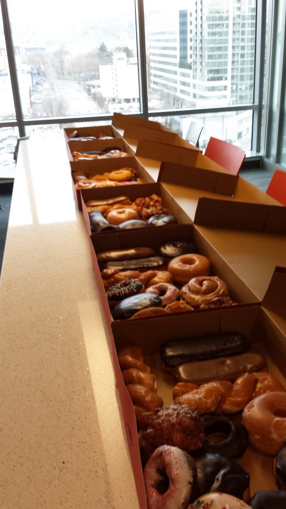 Six dozen donuts for my three-year work anniversary.