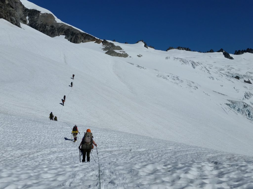 On the Inspiration Glacier. I'm in the middle of the first rope team.