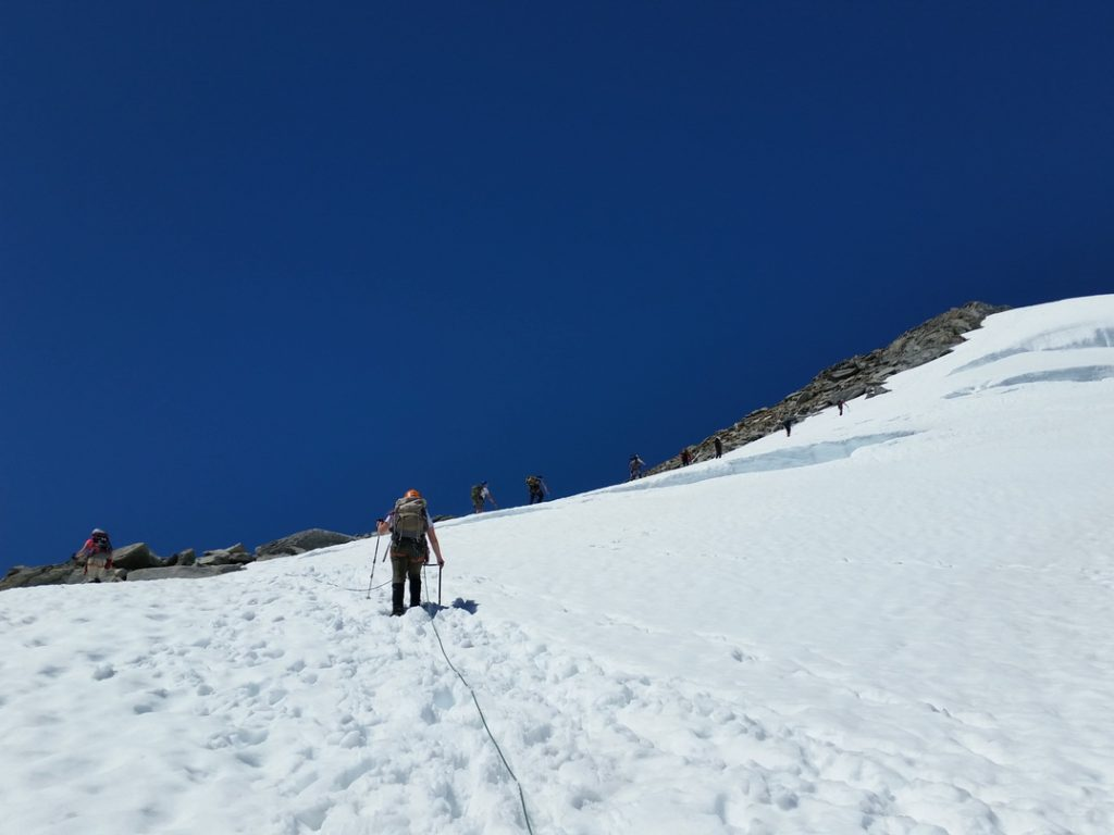 Heading up the Inspiration Glacier, with some of the few crevasses visible.
