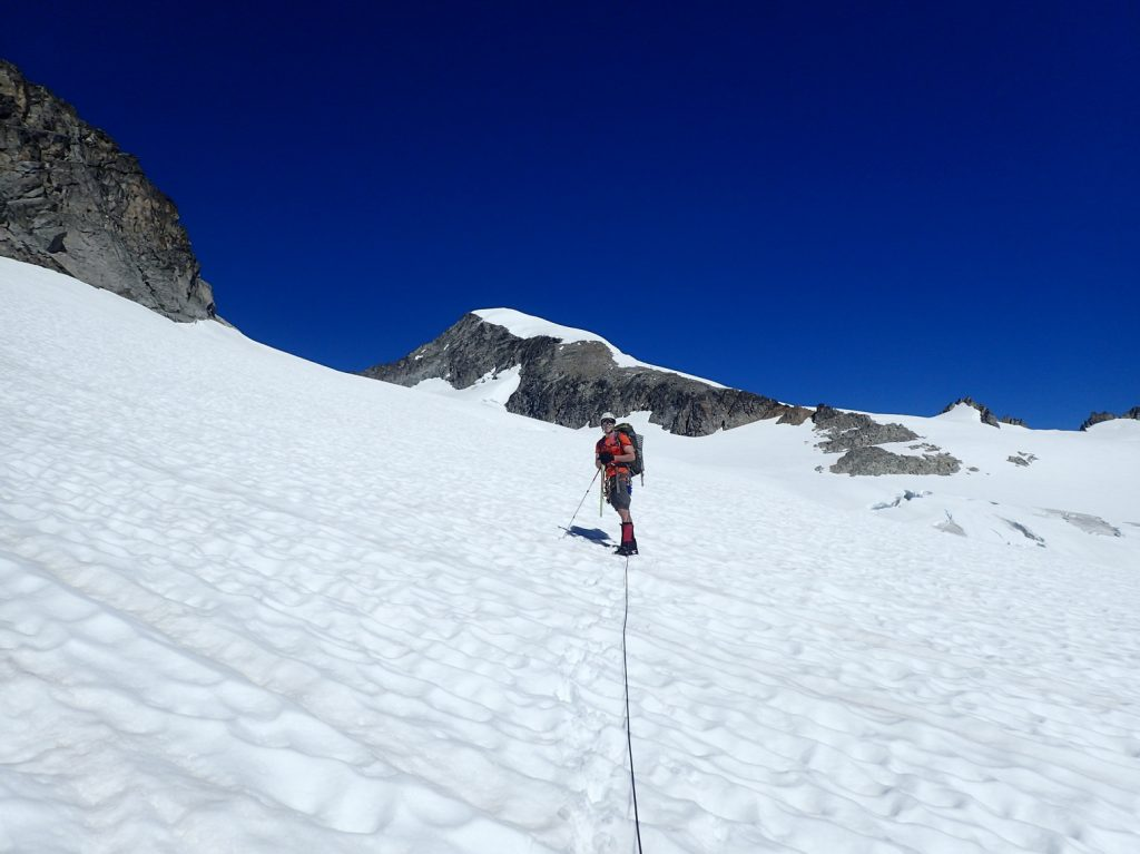 On the Inspiration Glacier, with Eldorado Peak in the background.
