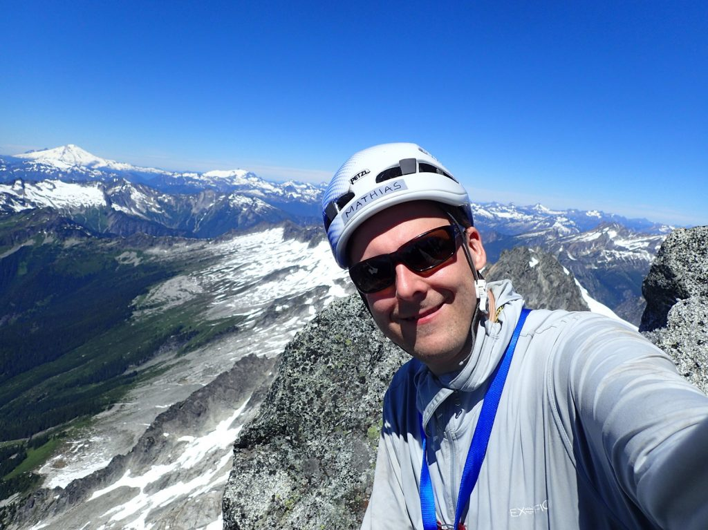 Happy on the summit of Eldorado Peak, the 25th highest mountain in Washington.