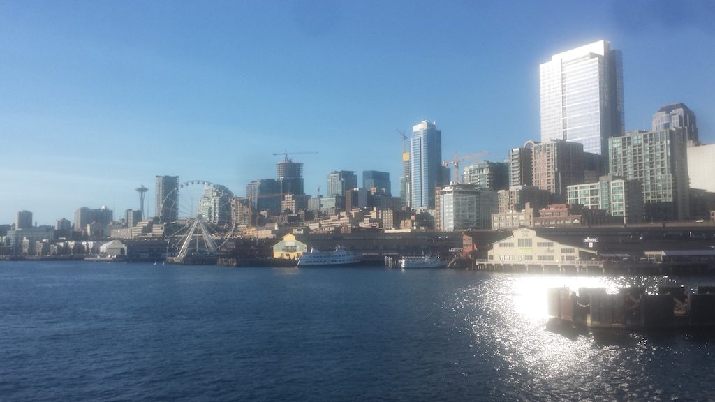 Leaving beautiful, sunny Seattle.