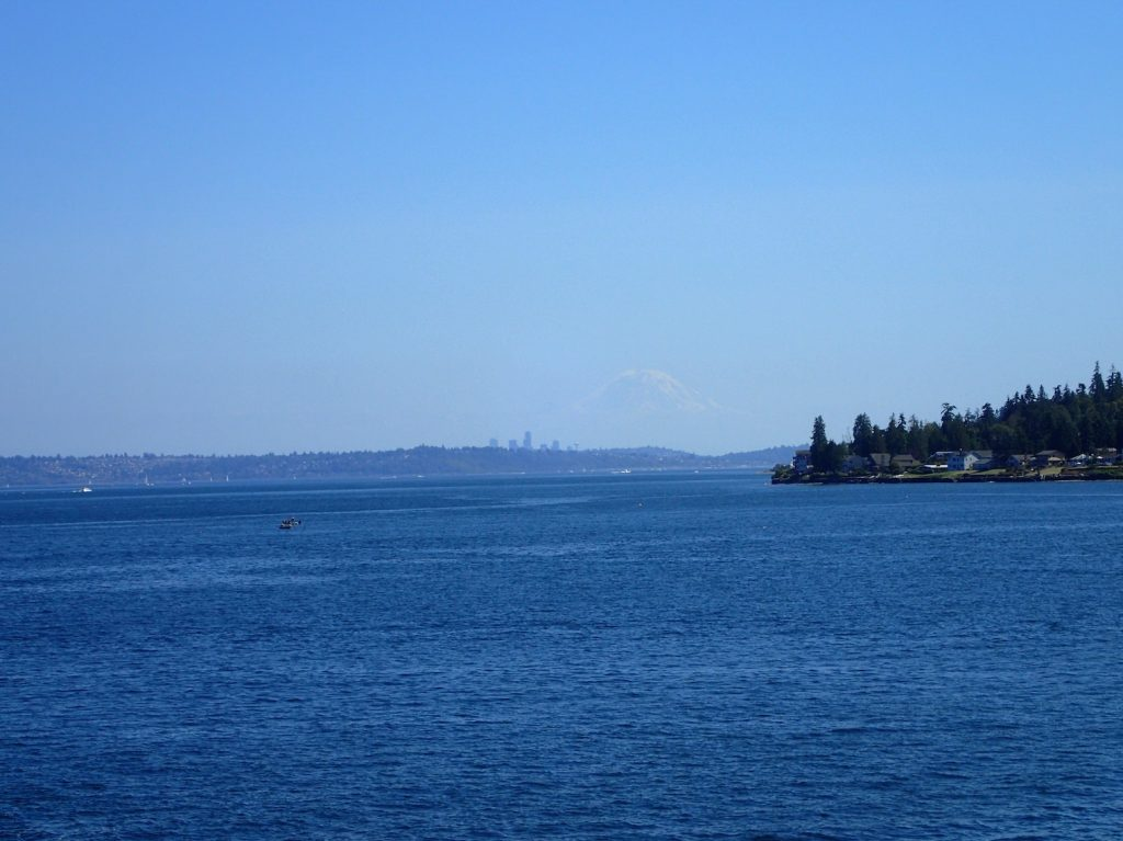 On the ferry to Edmonds. Mount Rainier dwarves Seattle.