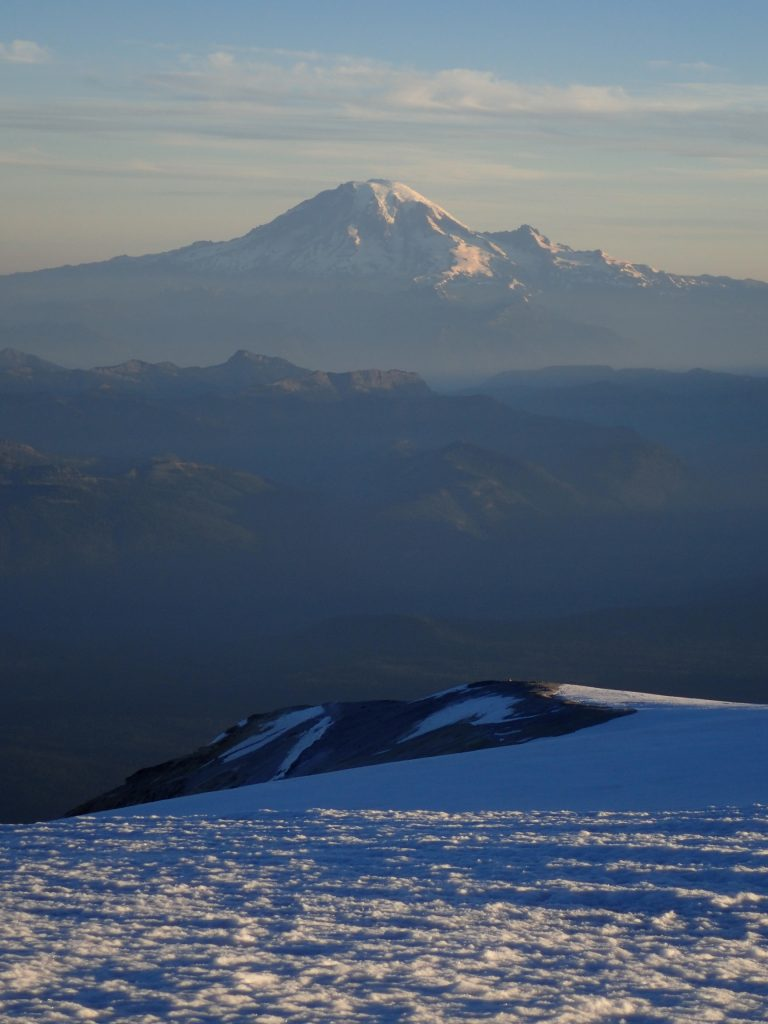 Tallest mountain in Washington, as seen from the second tallest mountain.