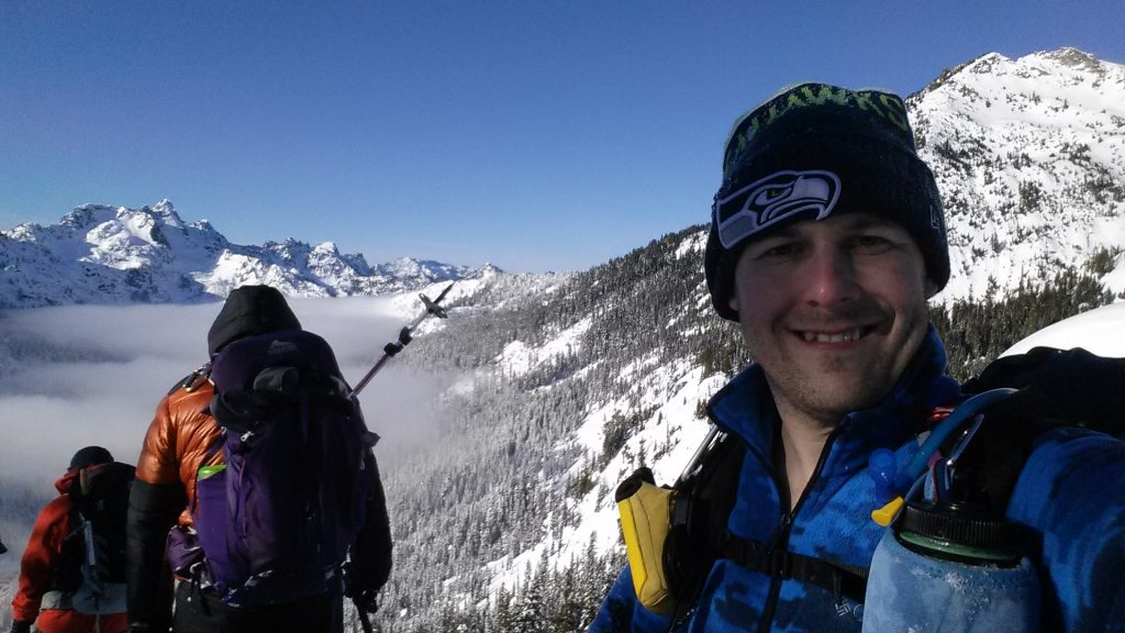 All smiles. I knew the crux wouldn't be too bad (contrary to the the snowshoe descent).
