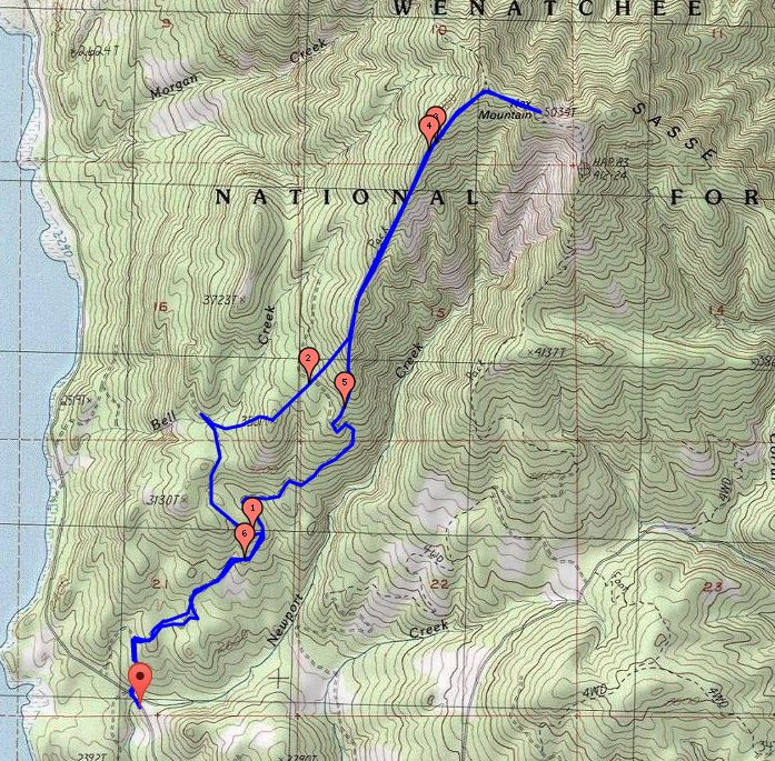 Approximate route to the summit and back. We went clockwise. The part just west of Point 3501 was the hardest part.