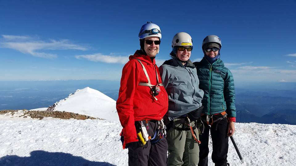 Vicki, Jenny and I on the Columbia Crest, Mount Rainier's summit.