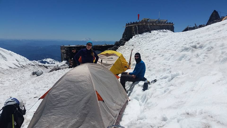 At Camp Muir, melting snow (picture by Vicki).