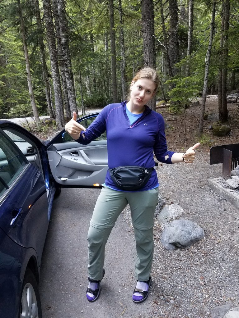 Jenny at our camp site on Friday, excited about her fanny pack.