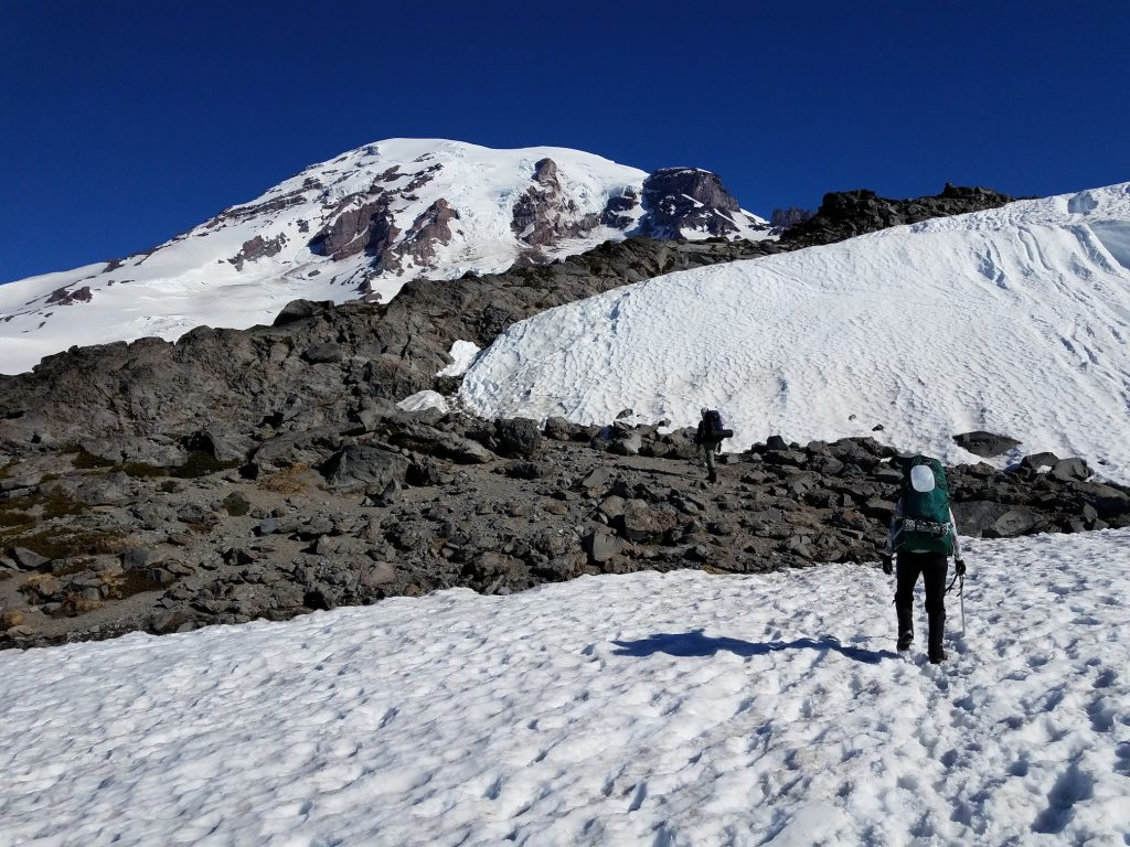 Jenny and Vicki near Pebble Creek, the beginning of the Muir Snowfield.