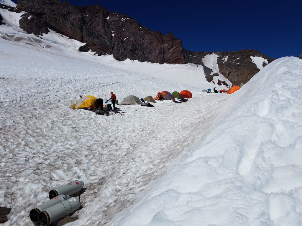 Line of tents at Camp Muir. Ours are the second and third from the left.