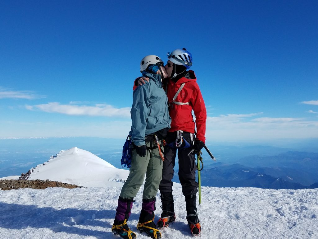 On the summit of Mount Rainier.