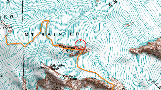 Approximate route, from http://mountrainierclimbing.blogspot.com/2017/06/disappointment-cleaver-6252017.html