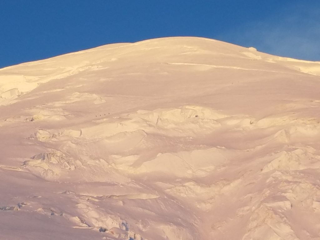 Climbers on the Emmons route to the summit of Mount Rainier.
