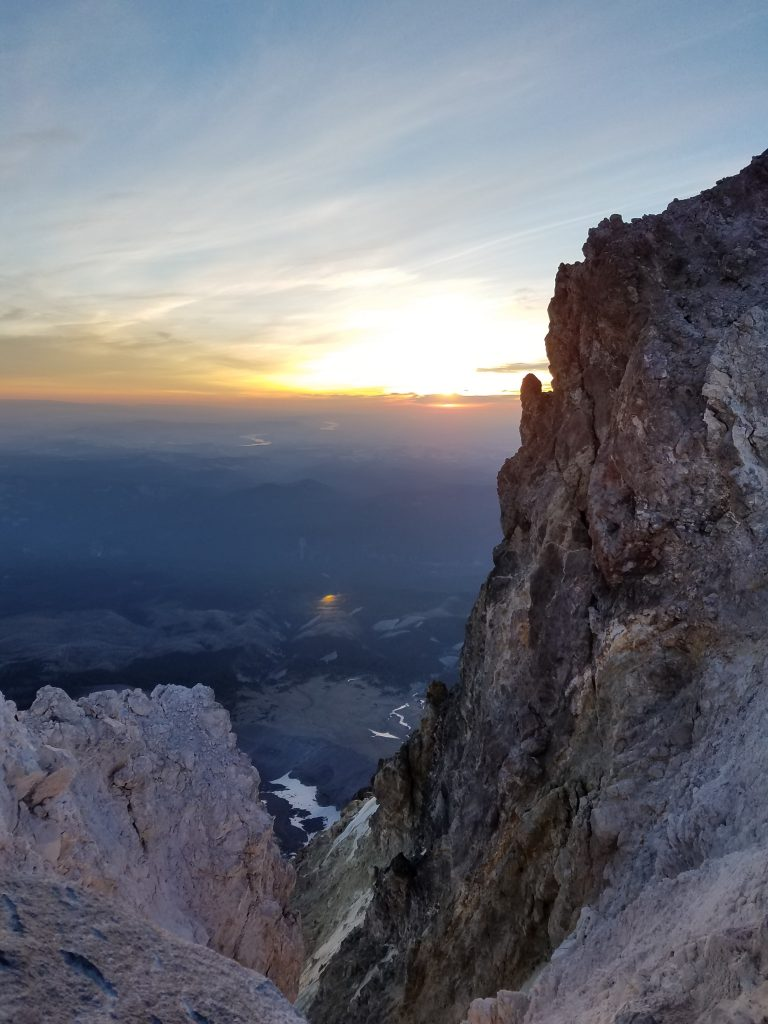 Summit block of Mount Hood at sunrise.