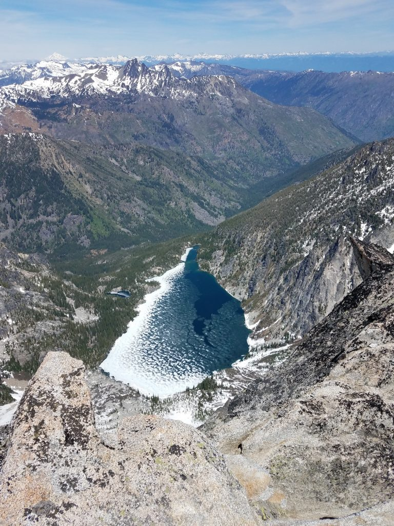 Looking 3,300 feet down to Colchuck Lake.