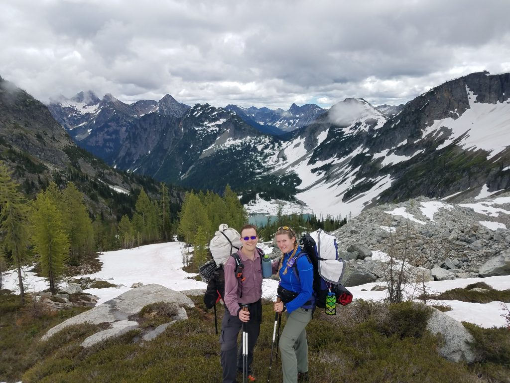 Above Lewis Lake in the North Cascades, on our way to camp below Black Peak.