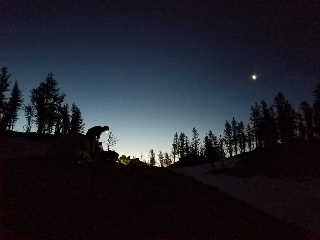 Camp at 4 AM for our summit attempt of Black Peak.