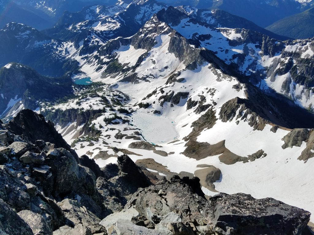 View from the summit of Black Peak, high above Wing Lake.
